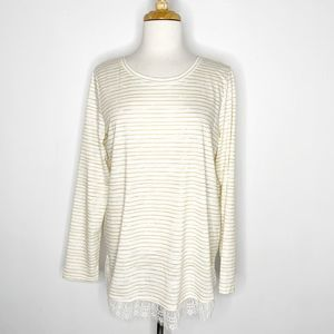 LC Lauren Conrad White Gold Striped Top Size Large